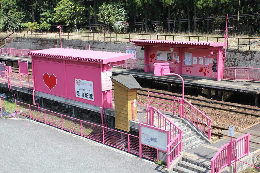 駅舎の様子/ピンクの恋山形駅(鳥取県/八頭郡智頭町)