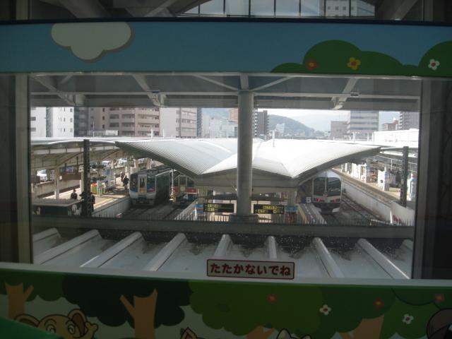 窓から本物の列車が見える/アンパンマンれっしゃ!にこにこステーション(香川県/高松市)