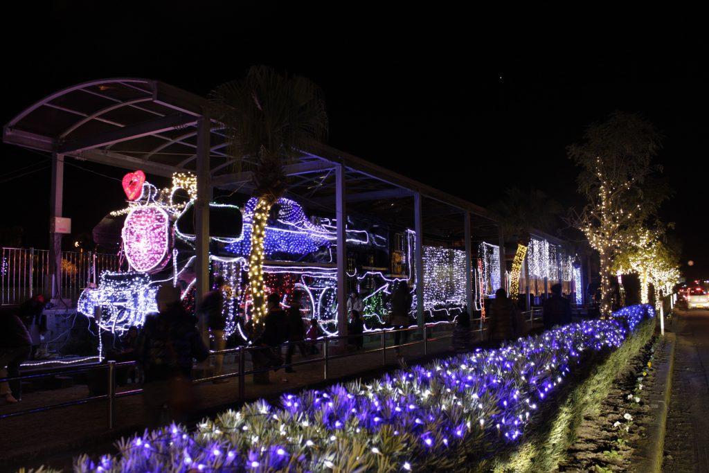 冬のイルミネーション/志布志駅 鉄道記念公園(鹿児島県/志布志市)