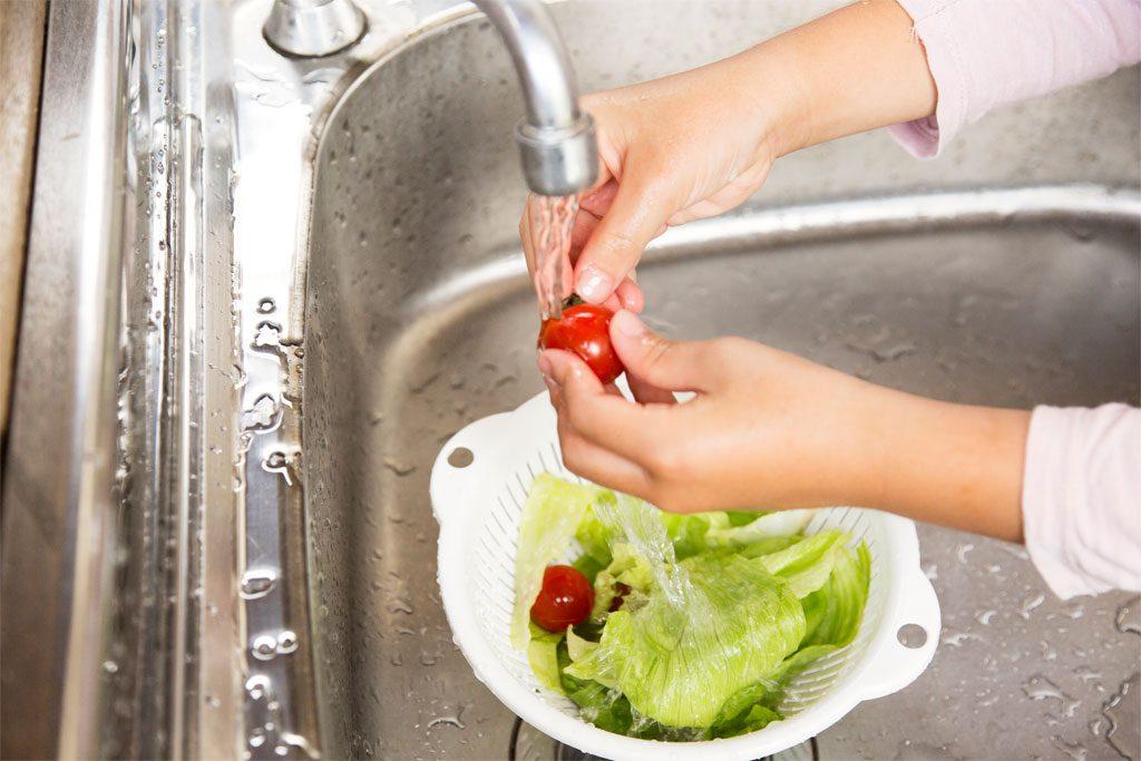 フレッシュサラダを洗ってちぎる/5歳~6歳におすすめバーべキューお手伝い