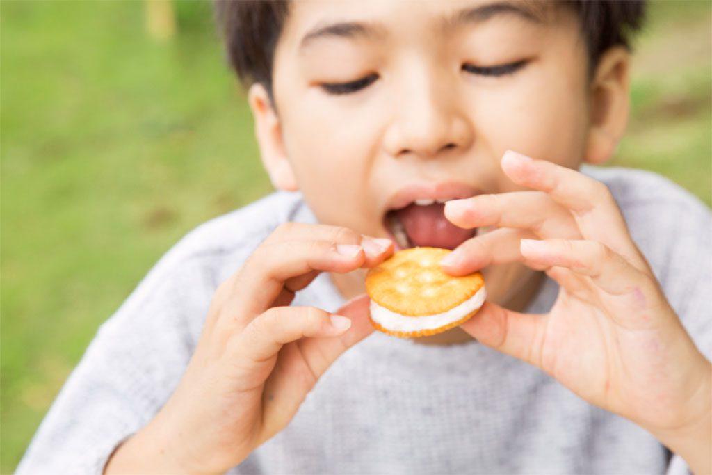 焼きマシュマロをビスケットではさんで食べる男の子/おすすめバーベキューデザート